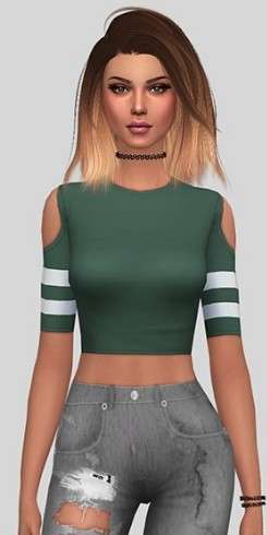 模拟人生4简洁的条纹纯色上衣MOD
