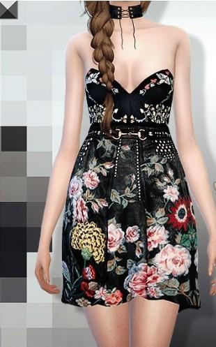 模拟人生4黑色美丽鲜花女性连衣裙补丁下载_模拟人生4黑色美丽鲜花女性连衣裙MOD